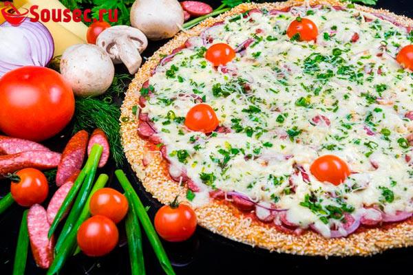 Пицца с соусом тартар