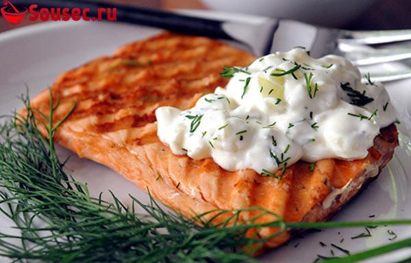 Рыба с йогуртовым соусом