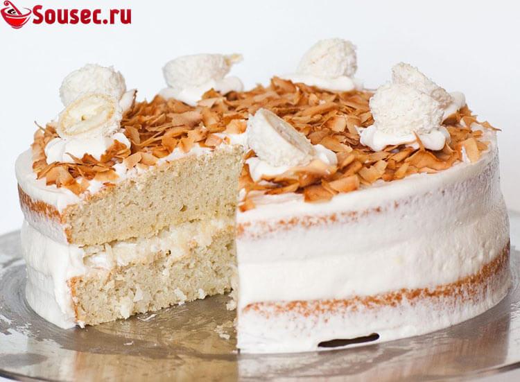 Торт с кремом Рафаэлло