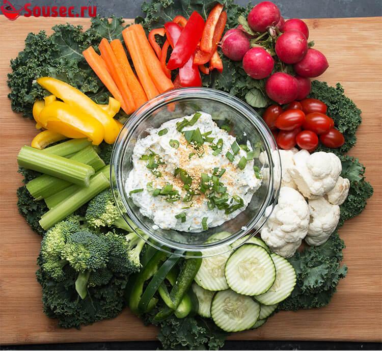 Творожный соус к овощам