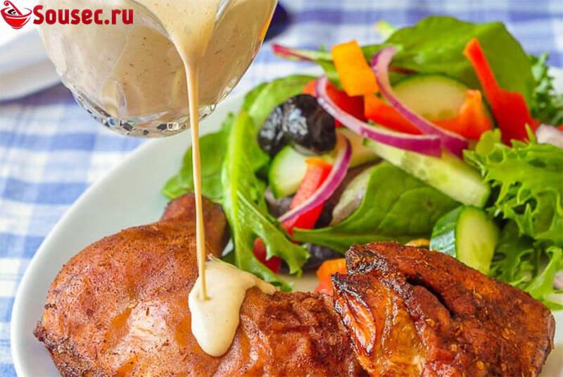 Курица гриль с соусом из майонеза