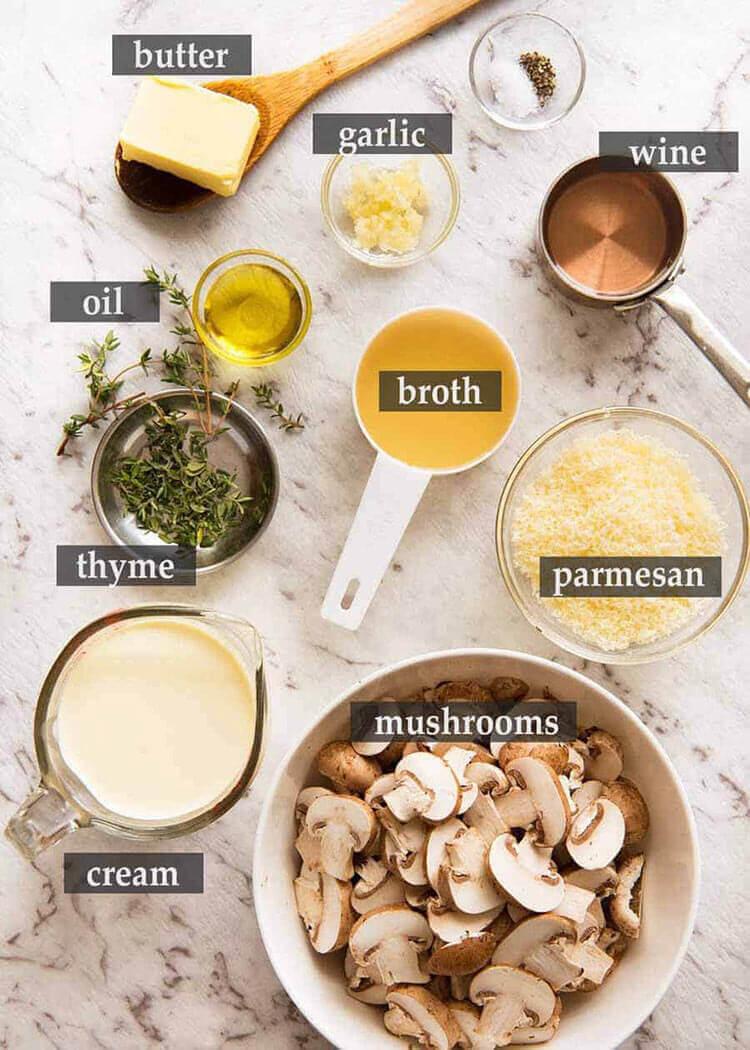 Состав шампиньонов в сливочном соусе