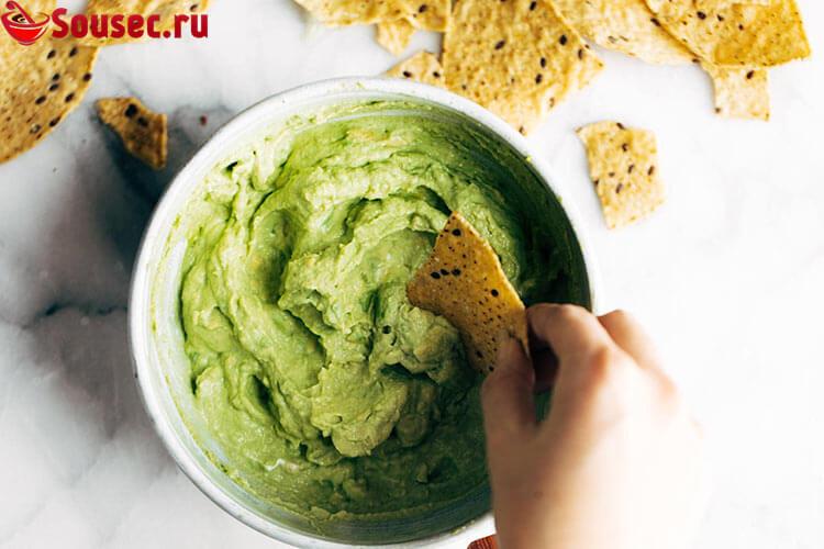 Соус к чипсам начос из авокадо