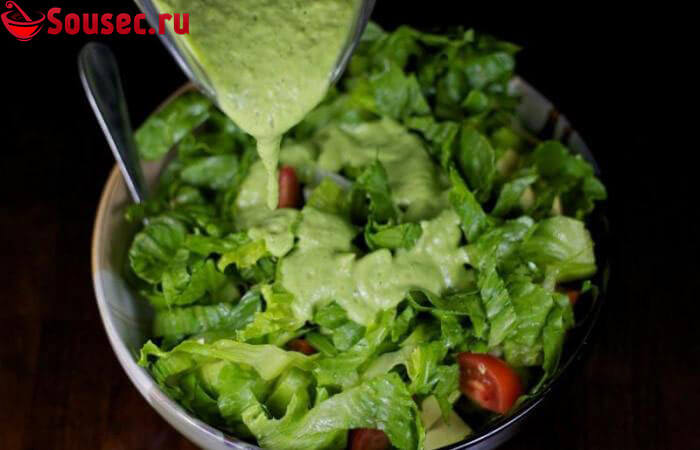 Салат с соусом из авокадо