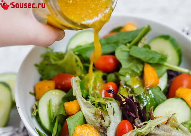 Салат со сливочно-горчичным соусом