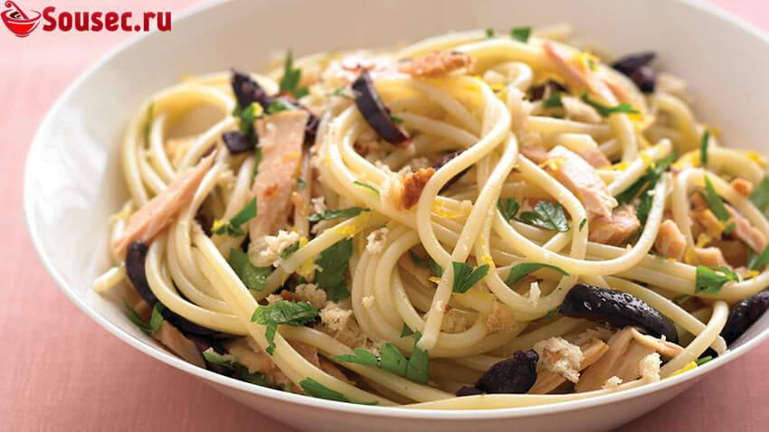 Спагетти с тунцом и майонезом